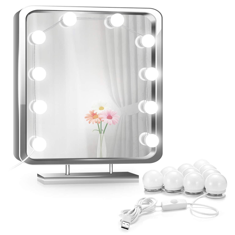 EleLight Luces de Espejo de Tocador LED con 10 Bombillas Ajustable Brillo para Mesa de Maquillaje Vestidor Baño, Espejo No Incluido