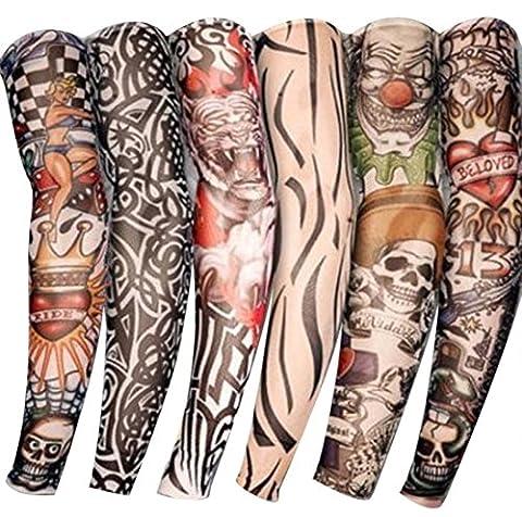 Butterme Unisexe 6 Pièces Faux Bras Manchons Tatouages temporaire Glissement tatouage manches bras