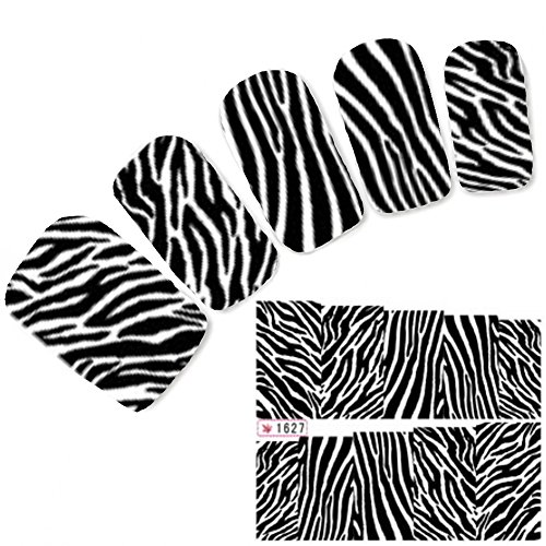 JUSTFOX - Tattoo Nail Art Aufkleber Muster Zebra Sticker Water Decall (Zebra Tattoo)
