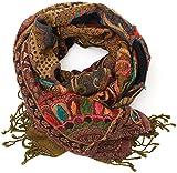 ufash Pashmina Schal, handbestickt & warm, aus Punjab, Indien, Paisley Muster, 180 x 70 cm - 100% Wolle, Schwarz