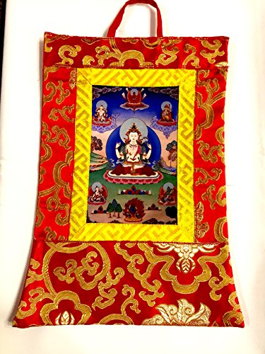 Tibetisch-buddhistischen Seide Brokat 4Arme chenreizig Kleines Foto Thangka/Wand aufhängen/Banner -