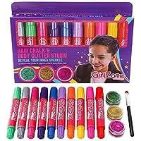 GirlZone Set 10 Tizas para Pelo y 3 Botes de Gel de Brillantina Cara, Cabello y Cuerpo Glitter Gel Maquillaje y 10 Tizas Colores Regalo de cumpleaños Chicas niñas niños 4 a 12 años Hair Chalk Kids