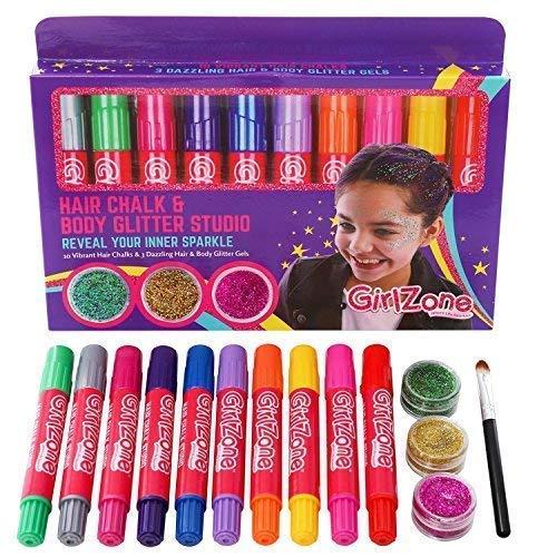 GirlZone: 10 Haarkreide & 3 Glitzer Gel - Kinder Makeup Set - Temporäre Haarfarbe für Kinder & Glitzergel für Haar Gesicht & Körper - Party Geburtstagsgeschenke für Mädchen - Karneval Schminke
