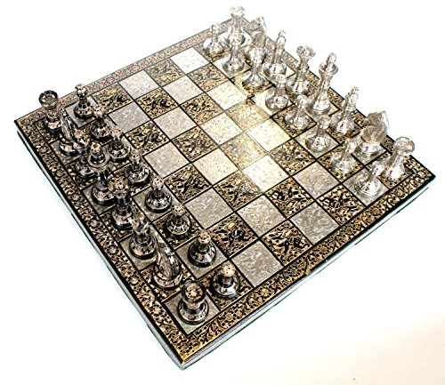 Chess-Set-Board-Messing-handgefertigt-Premium-Qualitt-Chess-Set-Antik-Design-Schwarz-Remasuri