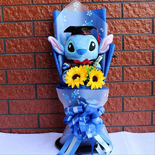 TYKCRt Stuff Giocattoli di Peluche, Anime e Stitch Bambole di Peluche ripiene Mazzi di Peluche Kawaii Stich, per Bambini Regali di Compleanno Blu
