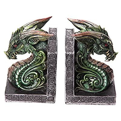 Dark Legends Dragon Head Book Ends - Green. PDS