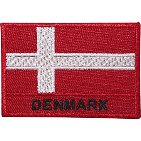 Denmark Flag Embroidered Iron / Sew On Patch Bag T Shirt Danish Embroidery Badge