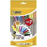 BIC Cristal Multicolour Bolígrafos Punta Ancha (1,6 mm) – Colores Surtidos, Bolsa de 20+7 Unidades, ideal para dibujos y anot