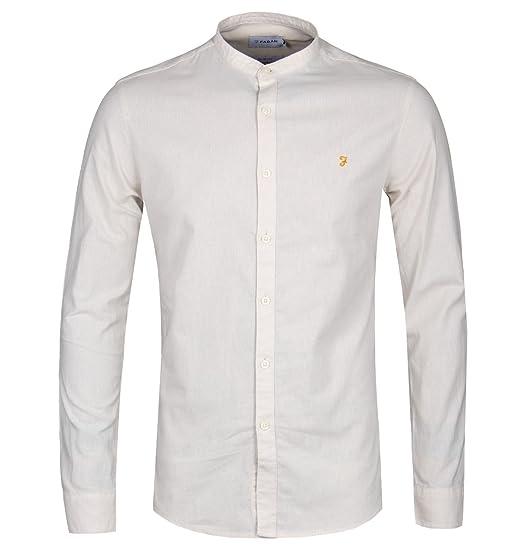 Edwardian Men's Shirts & Sweaters Farah Steen LS Grandad Shirt Beige £33.00 AT vintagedancer.com