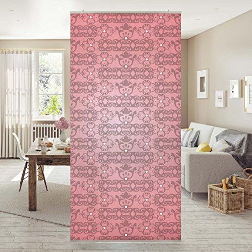Raumteiler - No.TA98 Antikes Muster Pink 250x120cm | Schiebegardine Schiebevorhang Raumtrenner Vorhang Raumteiler Gardine Paravent Wandbild...