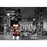 Vlies Fototapete PREMIUM PLUS Wand Foto Tapete Wand Bild Vliestapete - London Bus Lightning Nacht Skyline - no. 538, Größe:350x245cm Vlies