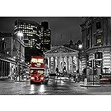 Vlies Fototapete PREMIUM PLUS Wand Foto Tapete Wand Bild Vliestapete - London Bus Lightning Nacht Skyline - no. 538, Größe:300x210cm Vlies