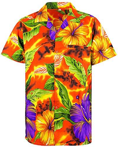 V.H.O. Funky Hawaiihemd, Kurzarm, Blume, Big Flower, orange, 4XL