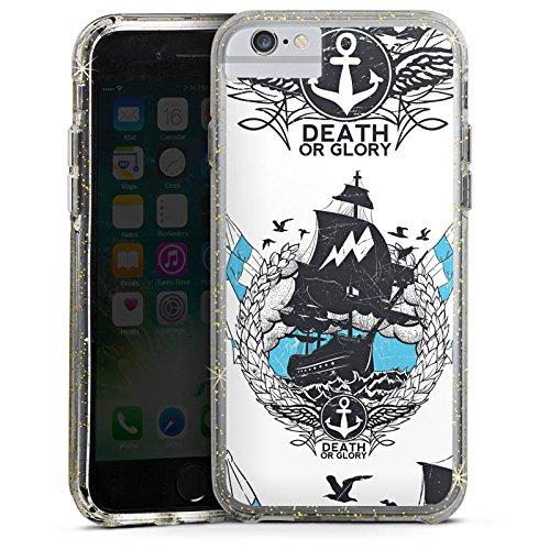 Apple iPhone 7 Plus Bumper Hülle Bumper Case Glitzer Hülle Schiff Segeln Sailing Bumper Case Glitzer gold