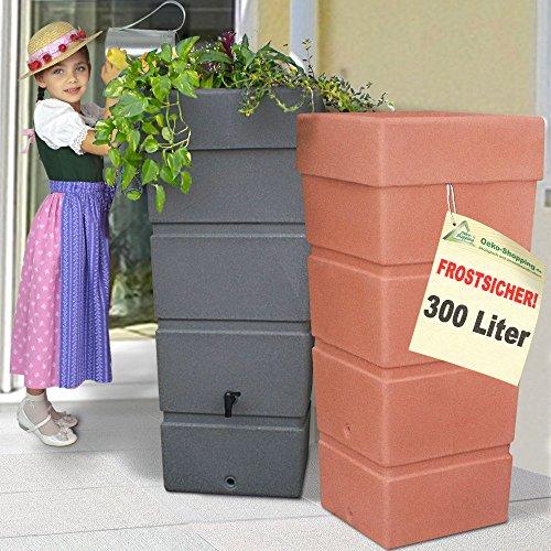 AMUR Regentonne Regenfass Ecktonne Regenspeicher Regenwasserbehälter FROSTSICHER - Moderne Eck-Regenwassertonne mit stabilem Deckel als Pflanzschale (Antrazit)