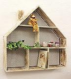 DanDiBo Setzkasten in Hausform 14B416 Wandregal Weiß Shabby Chic 68 x 68 cm Sammlervitrine Küchenregal Regal