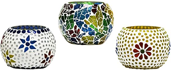 CraftJunction Set of 3 Handcrafted Mosaic Glass Tea Light Holder(3*3 Inches)