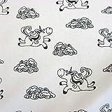 Stoff Baumwolle Jersey weiß Einhorn schwarz Märchen Trend