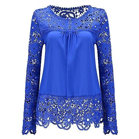 Women Long Sleeve Embroidery Lace Chiffon Tops