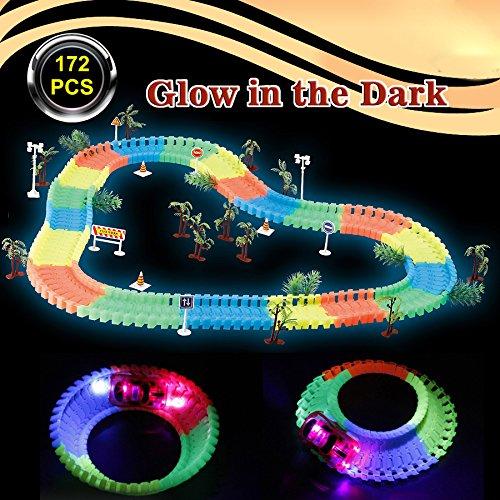 Race Spielzeug Cars (Yootu Neon Glow Race Cars Spielzeug Magic Track Auto, Bend Flex Glow in Dunkel)