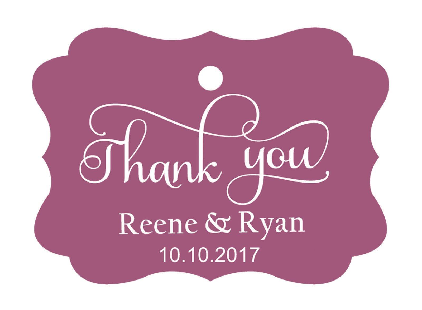 100pcs Thank You custom made cartellini personalizzato matrimonio carta regalo Tag Violet