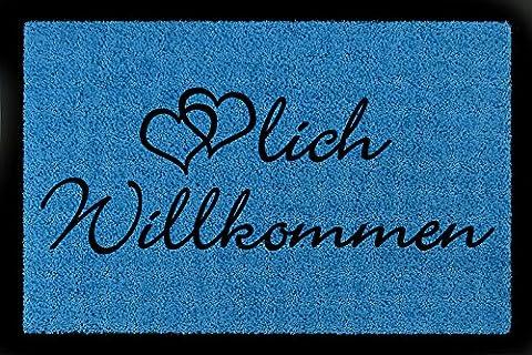 FUSSMATTE Türmatte HERZLICH WILLKOMMEN Herz Geschenk Eingang Einzug Viele Farben Royalblau