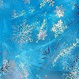 80Store Himmelblaues Gewebe mit silbernem Threaded Sheer Organza Silver Schneeflocken Garn Shimmering Ice Pattern 1 Yard für Elsa Cosplay Kostüme (Blau)