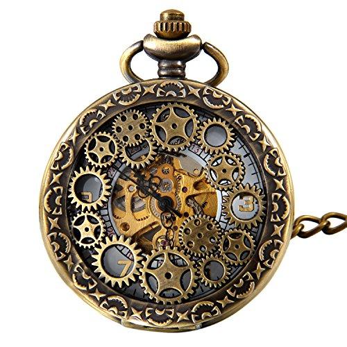 Jewelrywe Orologio da Tasca a Quarzo Hollow Collana in Lega Bronzeo Vintage Orologi Meccanici