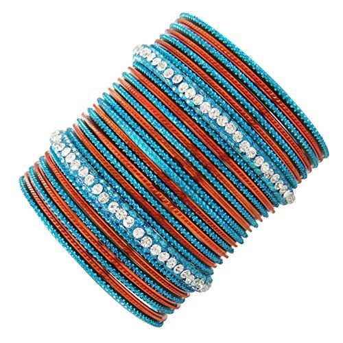 traditionelle blaue Churi gesetzt indische Hochzeit Partei zu tragen Armbänder 2 * 8 Geschenk für Frauen