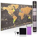 Weltkarte zum Rubbeln – mit allen US Staaten - Zubehör-Kit und Geschenk-Tube – 70cm x 42cm Deluxe Rubbel Weltkarte