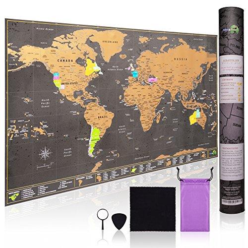 Weltkarte zum Rubbeln - mit allen US Staaten - Zubehör-Kit und Geschenk-Tube - 70cm x 42cm Deluxe Rubbel Weltkarte -