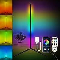 Lampadaire LED, FULLOVE RGB Lampadaire Salon sur Pied D'angle Lampe Couleurs Réglable, Lampe Salon avec télécommande…