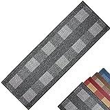 PROHEIM Teppichläufer Dijon - Küchenläufer mit dezent gemustertem Flachgewebe - Teppichbrücke pflegeleicht und robust - moderner Flurläufer, Farbe:Grau, Größe:67 x 200 cm