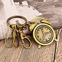 ZoraQ Kreative Keychain Wecker Anhänger Metall Schlüsselanhänger Handtasche Tasche Auto Hang Dekoration Geschenk (Bronze)