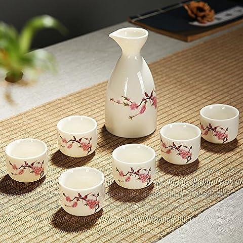 Ensemble de coupe à saké japonais traditionnel peint à la main Style Classique Couleur printemps chaud Motif porcelaine poterie en céramique Tasses Crafts Verres à vin 7pièces