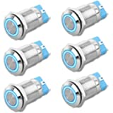 Thlevel 6PCS Interruttore a Pulsante Autobloccante a con LED 12V 12mm Metallo Latching Interruttore a Pulsante in…