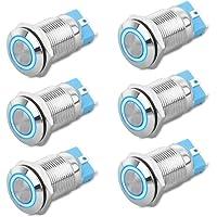 Argento interruttore pulsante motore auto 12V Interruttore accensione accensione push con luce LED bianca per veicoli auto Interruttore avviamento motore
