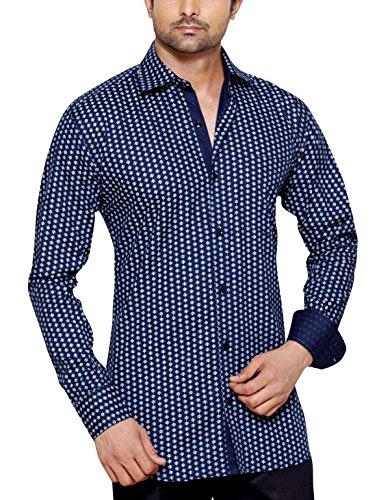 Franco Romano para hombre Regular Fit Classic camiseta de manga larga Casual azul azul XXL