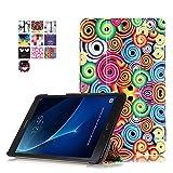 Tab A6 Case,Hülle Samsung Galaxy Tab A 10.1 - PU Leder Cover Case Stand Schutzhülle Flip Etui Tasche für Samsung Galaxy Tab A6 10.1 Zoll SM-T580N / SM-T585N Tablet Hülle Schutzhülle,Bunte Wirbel