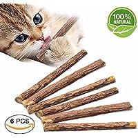 BONABON Matatabi Sticks,PCS Dental Stick Natural Dental Care Catnip Sticks Toys Chew for Teeth Cleaning Healthy Care Organic Silver Vine Bully Sticks for Kitty