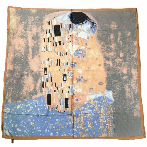 Prettystern P681 - 90 centimetri x 90cm Stampa artistica panno di seta in stile Art Nouveau - Gustav Klimt - Il bacio (blu-verde)