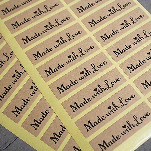 Pegatinas de papel con texto «Made with love», para manualidades, boda, vintage, rústico, x 36