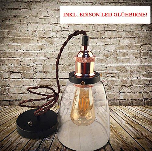 Kypo Retro/Industrie Lampe + Edison LED Glühlampe 4W. [Energieklasse A++] (Braun Bronze) (Braun)