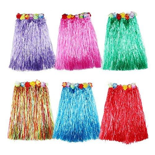 6 Stücke Mehrfarbig Hawaiian Seide Falsch Blumen Hula Gras Rock - Mädchen Frauen Zubehör für Hula Luau Party (Verdicken-80cm)