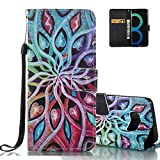 Aeeque® Colorful Flowers Wallet Case for Samsung Galaxy S8 5.8 inch, Premium PU Leather Bookstyle Kickstand Function with Credit Card Slots Soft Silicone Shockproof Protection Holster Covers