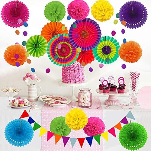 61pHGxaO3PL - Zerodeco Decoración de la Fiesta, 21 Piezas Abanicos de Papel Bola de Nido Pom Poms Ventilador Cumpleaños Boda Carnaval Bebé Ducha Home Party Supplies Decoración