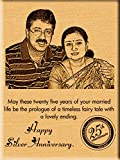 #10: Incredible Gifts India 25Th Silver Wedding Anniversary Gift Ideas Engraved Photos On Wood (9X7)