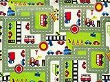 ab 1m: Kinderstoff, Autos und Schilder, hellgrün, 140cm breit