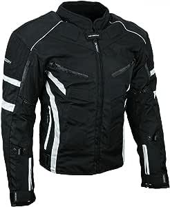 HEYBERRY Kurze Textil Motorrad Jacke Motorradjacke Schwarz Weiß Gr. M