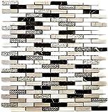 Mosaik Fliese Marmor Naturstein Brick Stein Design silber braun weiß grau für WAND BAD WC DUSCHE KÜCHE FLIESENSPIEGEL THEKENVERKLEIDUNG BADEWANNENVERKLEIDUNG Mosaikmatte Mosaikplatte